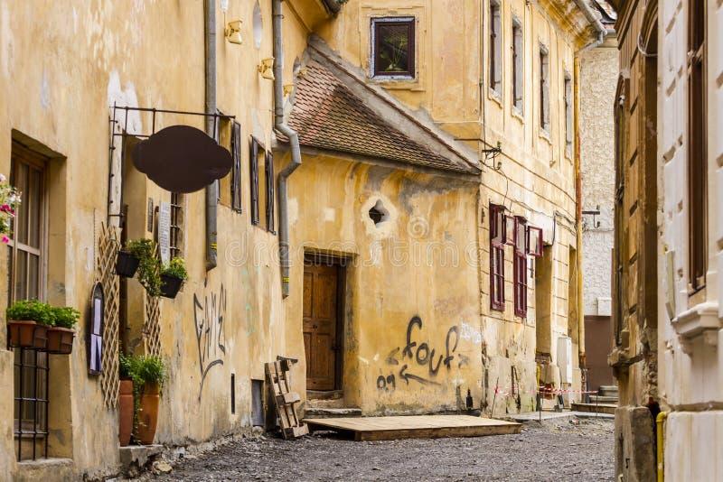 Gammal stadsgata i Brasov Rumänien royaltyfri fotografi
