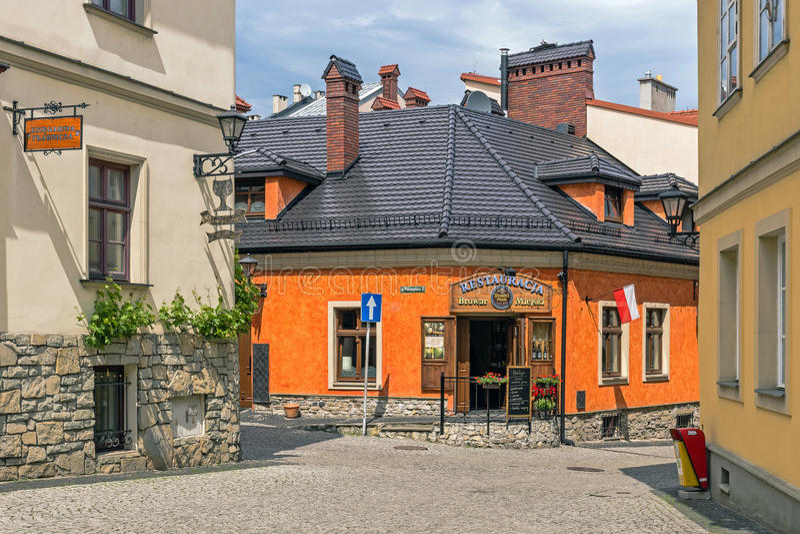 Gammal stadsikt i Bielsko-Biala arkivbilder