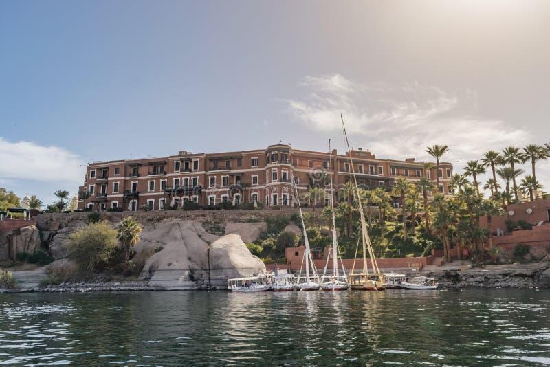 Gammal starr Aswan, Egypten för hotellSofitel legend arkivfoto