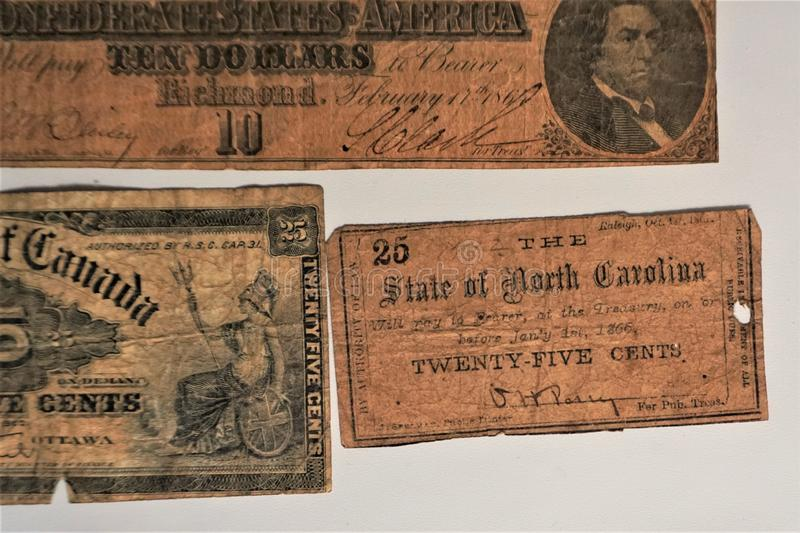 Gammal stat för pappers- pengar av North Carolina 1866 royaltyfria foton