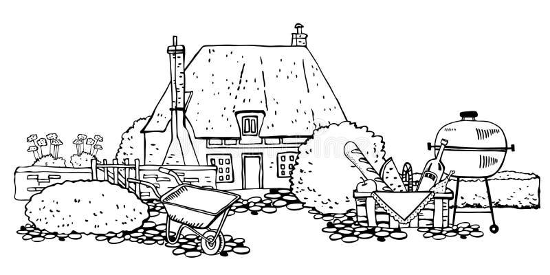 Gammal stenEuropa countryhouse med växter som arbeta i trädgården hjälpmedel, galler för picknickkorganf Vektorn skissar handen d royaltyfri illustrationer