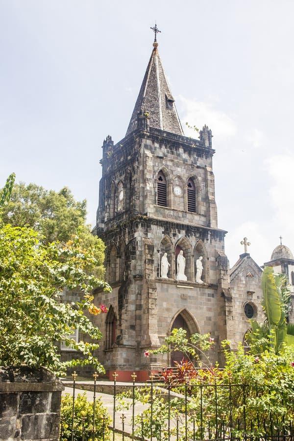 Gammal stenkyrka i Rosseau Dominica arkivfoto
