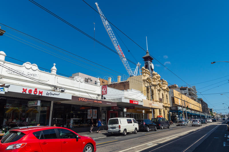 Gammal stolpe - kontor på Smith Street, Collingwood arkivfoto
