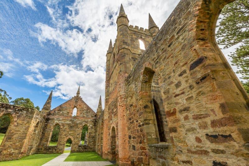 Gammal straffångekyrkaport Arthur Tasmania royaltyfri fotografi