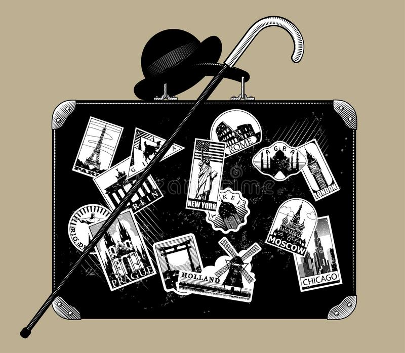 Gammal svart resväska med att gå den pinne-, plommonstop- och lopplabbet royaltyfri illustrationer