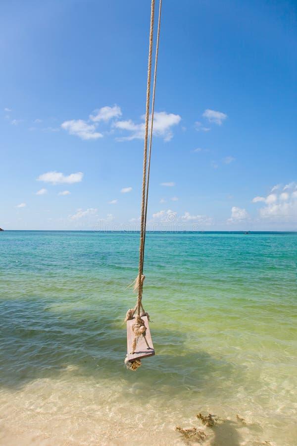 gammal swing för strand som binds till den tropiska treen arkivfoto