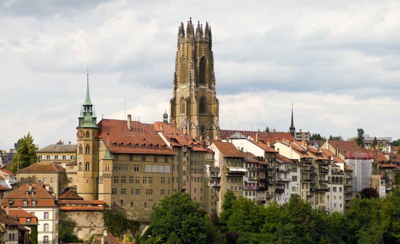 gammal switzerland för fribourg town arkivfoton