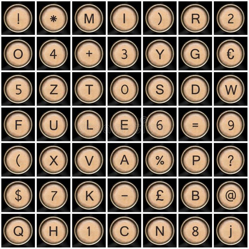 gammal symbolskrivmaskin för alfabet royaltyfri foto