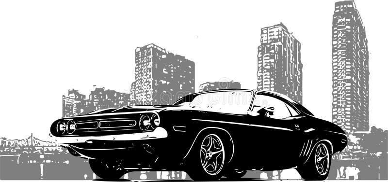 Gammal tävlings- bil med grungestadsbakgrund vektor illustrationer