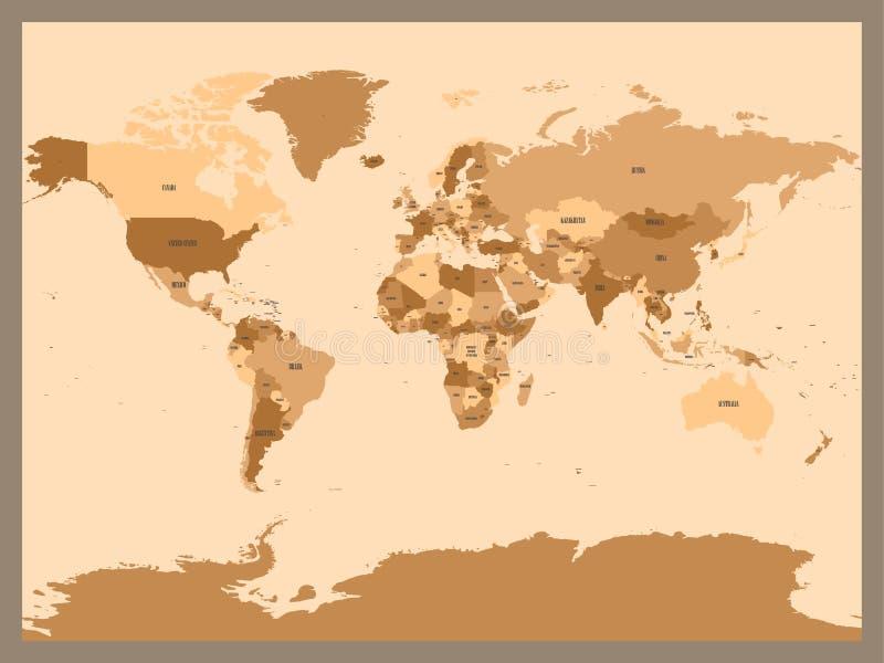 Gammal tappning eller retro stilöversikt av världen Politisk översikt i skuggor av brun ang-beiga Enkel plan vektorillustration vektor illustrationer