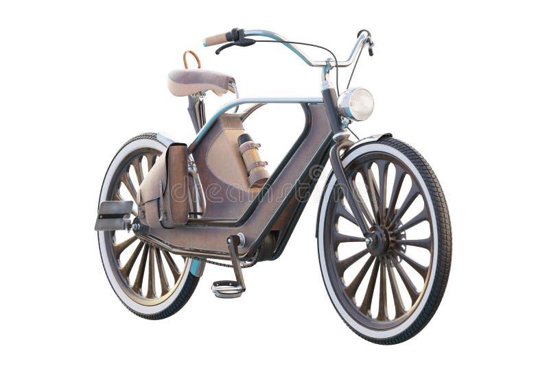 gammal tappning för cykel Steampunk stil På en vit bakgrund 3d framför stock illustrationer