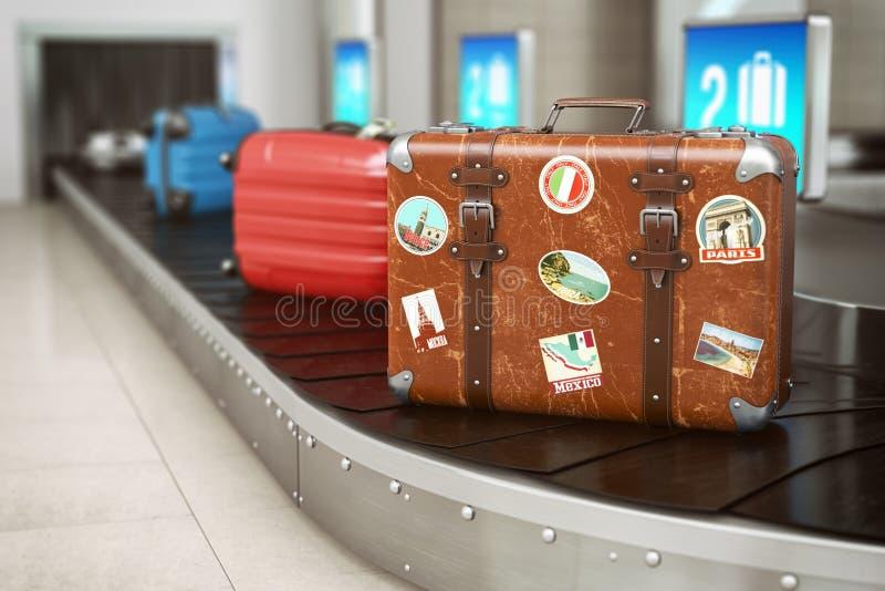 Gammal tappningresväska på en flygplatsbagagetransportband Flygplatsbagageb?lte med r?rande bagage i skarpa f?rger Lopp- och turi royaltyfri illustrationer