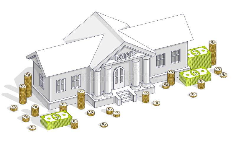 Gammal tecknad filmbankbyggnad med den kontanta pengardollarh?gen och cent staplar tecknade filmen som isoleras ?ver vit bakgrund stock illustrationer