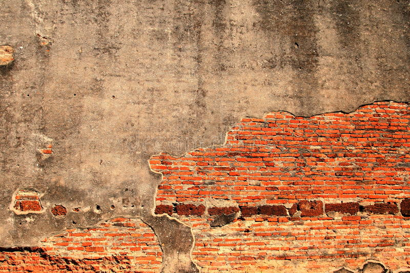 Gammal tegelstenvägg arkivbild