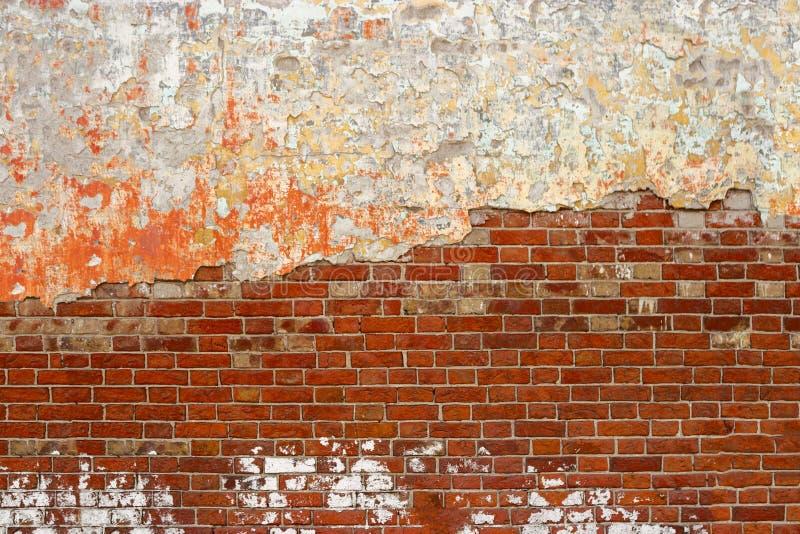Gammal tegelstenvägg med bakgrund för skalningsmurbrukgrunge, kopieringsutrymme royaltyfri fotografi