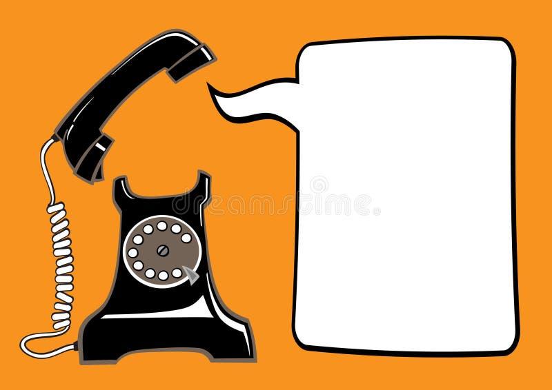 Gammal telefon med anförandebubblan royaltyfri illustrationer