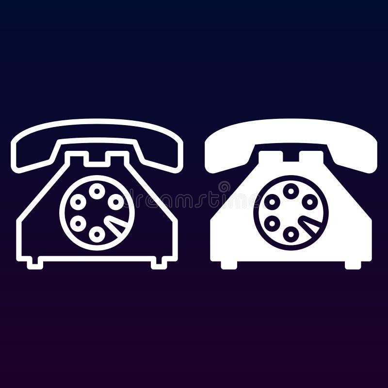Gammal telefonlinje och fast symbol, översikt och fylld pictogram för tecken för vektor som linjär och full, isoleras på vit royaltyfri illustrationer