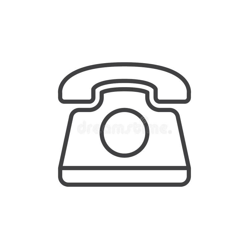 Gammal telefonlinje symbol, översiktsvektortecken, linjärt stilsymbol som isoleras på vit stock illustrationer