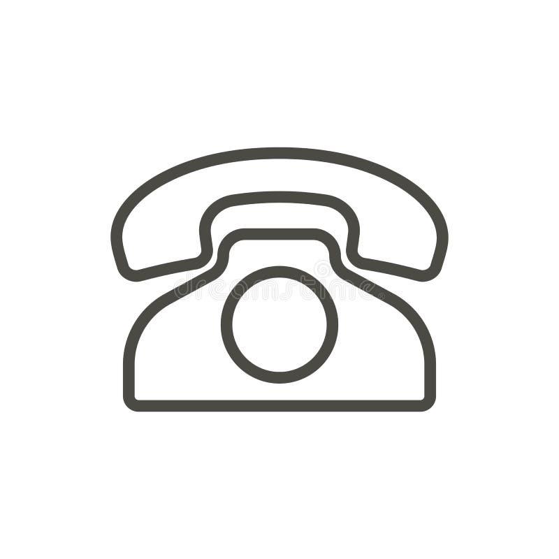 Gammal telefonsymbolsvektor Översiktstelefon Linje tappningtelefonsym stock illustrationer