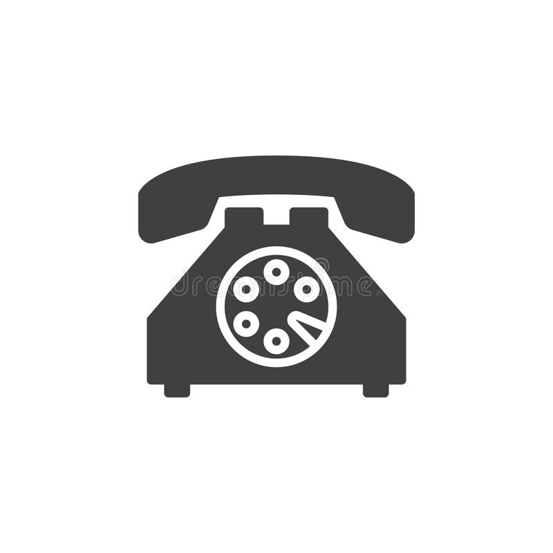 Gammal telefonsymbolsvektor, fyllt plant tecken, fast pictogram som isoleras på vit vektor illustrationer