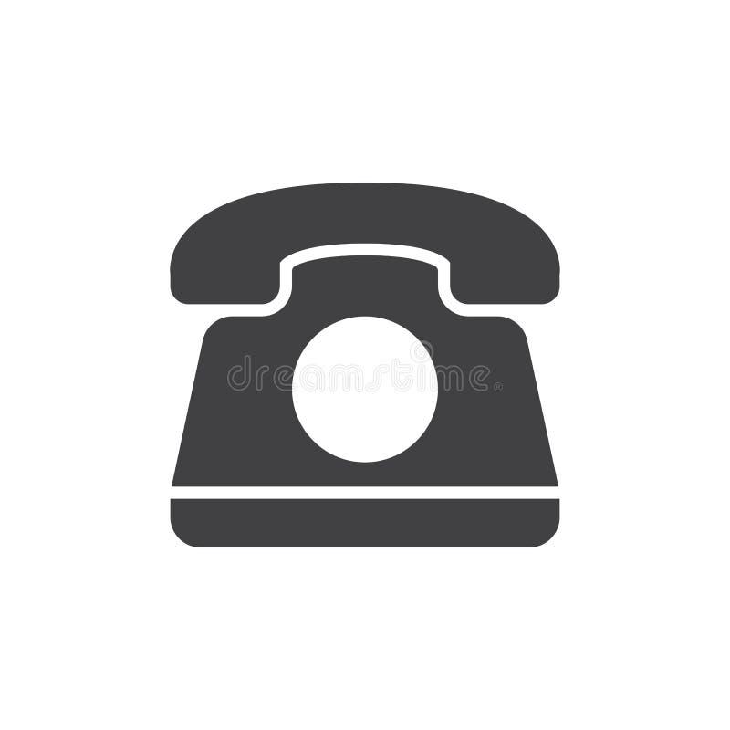 Gammal telefonsymbolsvektor, fyllt plant tecken, fast pictogram som isoleras på vit stock illustrationer