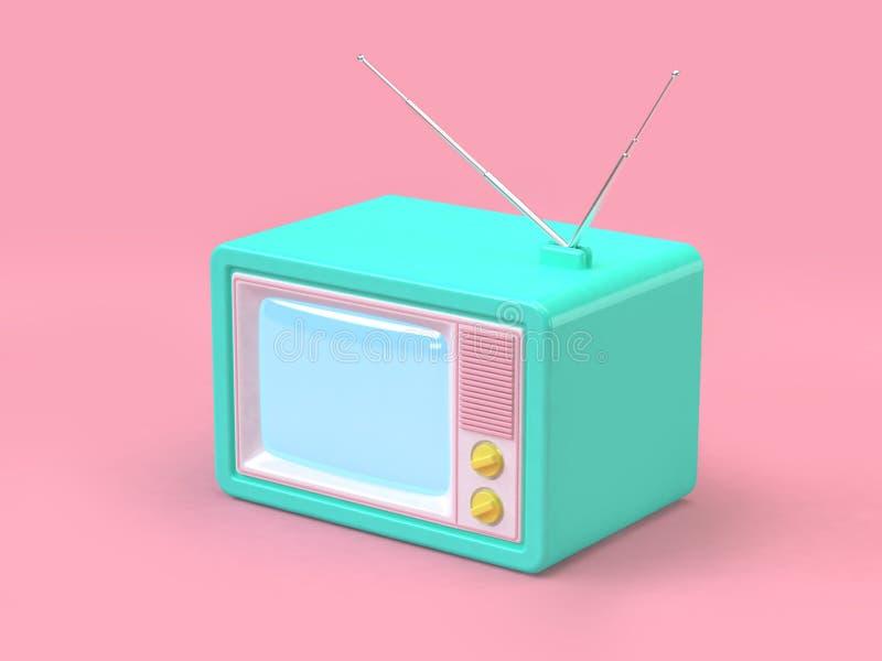 gammal televisiontecknad filmstil på det rosa minsta bakgrundsteknologibegreppet 3d framför stock illustrationer