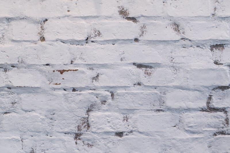 Gammal textur för tegelstenväggen målade vitt royaltyfria bilder