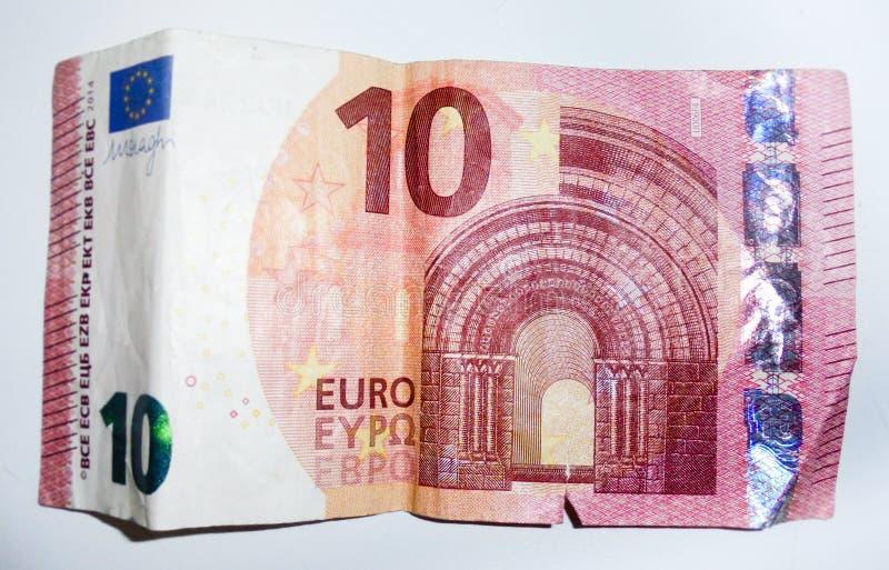 Gammal tio euro pengarräkning royaltyfria foton
