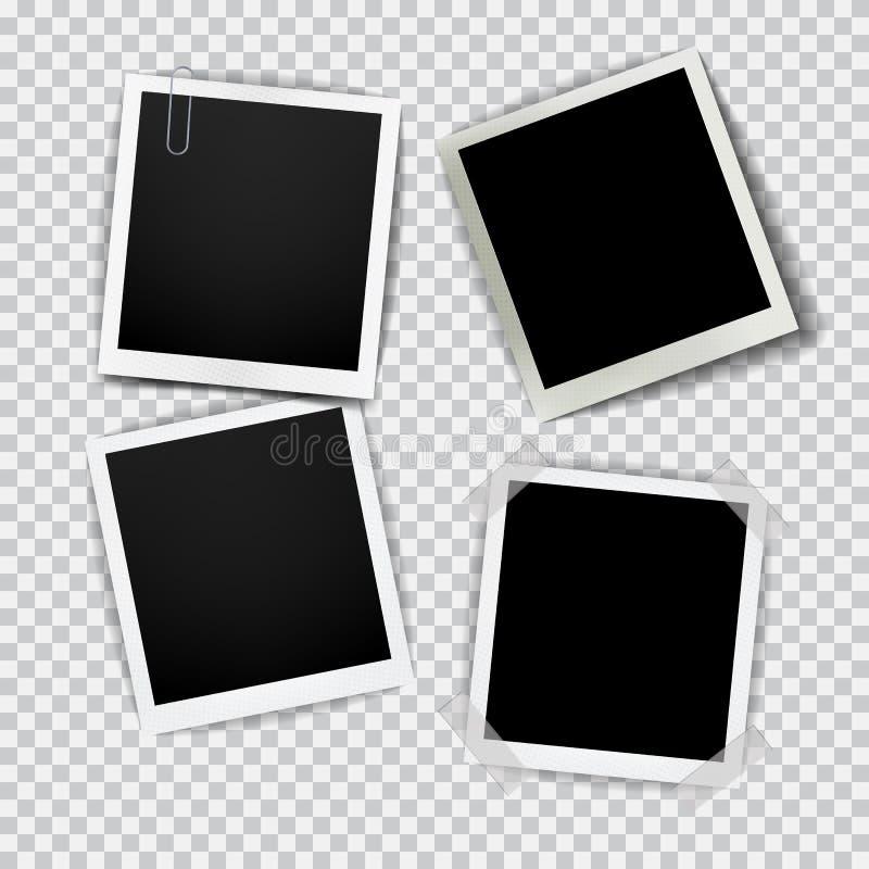 Gammal tom realistisk fotoram med genomskinlig skugga p? bakgrund f?r pl?dsvartvit arkivfoto