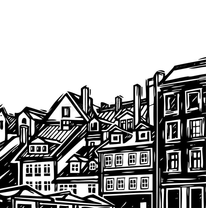gammal town stock illustrationer