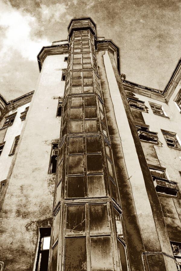 gammal town för hus stock illustrationer