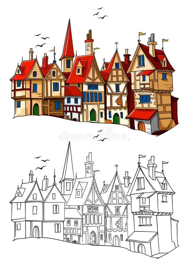 gammal townvektor för europeisk illustration vektor illustrationer