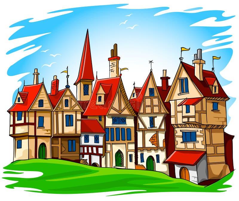 gammal townvektor för europeisk illustration royaltyfri illustrationer