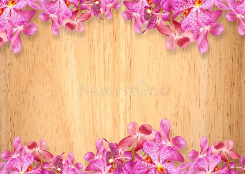 Gammal träbakgrund med rosa orkidéblommor royaltyfria foton