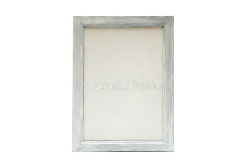 Gammal träbildram som isoleras på vitt bakgrundsbruk för texter eller produkter som visar skärm royaltyfri fotografi