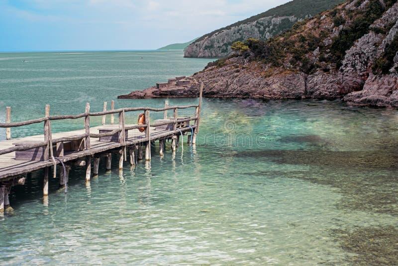 Gammal träbro i den härliga tropiska ön royaltyfri bild
