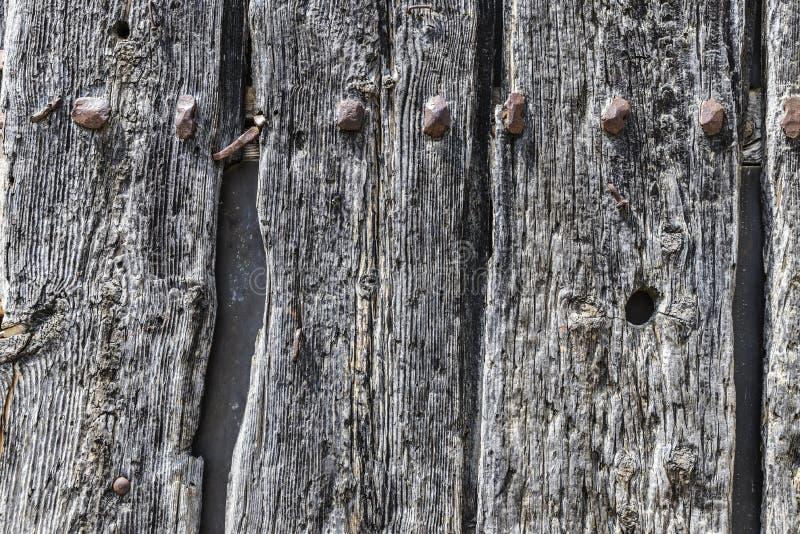 Gammal trädörr som bakgrund fotografering för bildbyråer