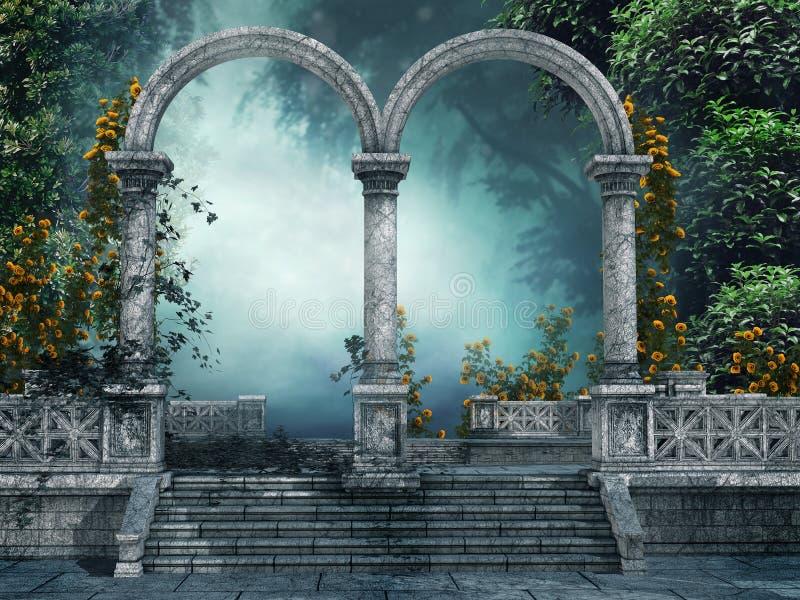 Gammal trädgård med bågar stock illustrationer