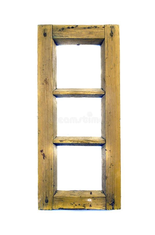 Gammal träisolerad fönsterkadaverram royaltyfri fotografi