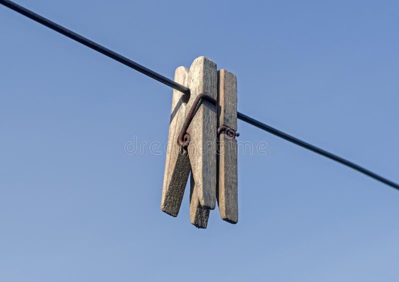 Gammal träklädnypa på repet mot blå himmel royaltyfri foto