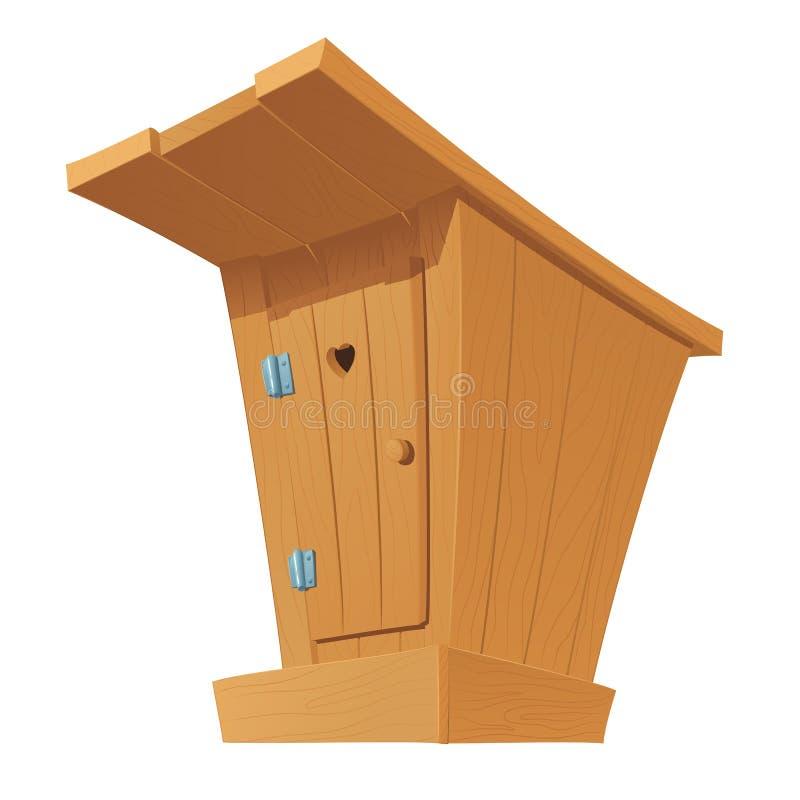 Gammal trälandstoalett med den stängda dörren royaltyfri illustrationer
