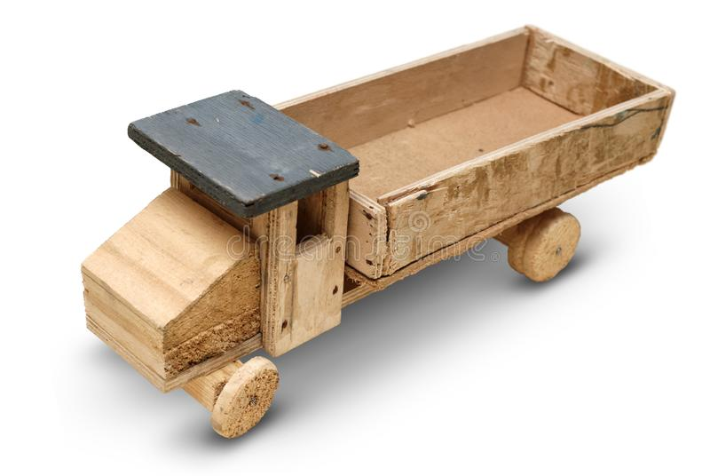 Gammal träleksak, generisk auto lastbil arkivfoton