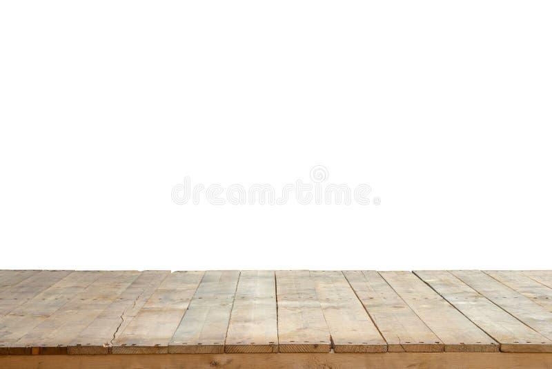 Gammal trätabell, träplankor eller trägolv som isoleras på vit bakgrund med den snabba banan arkivfoton