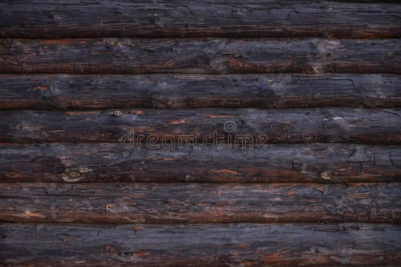 Gammal trävägg för journalhus, lantlig bakgrundstextur royaltyfri fotografi