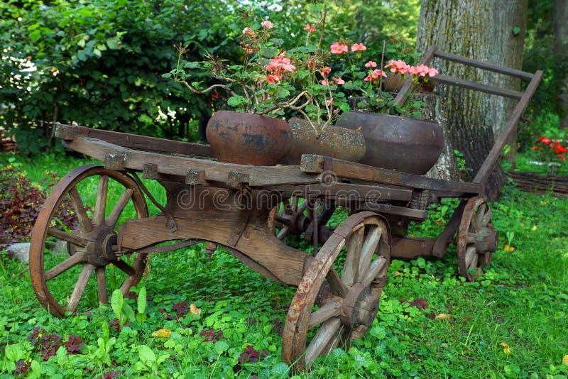 Gammal trävagn med rosa blommor royaltyfri fotografi