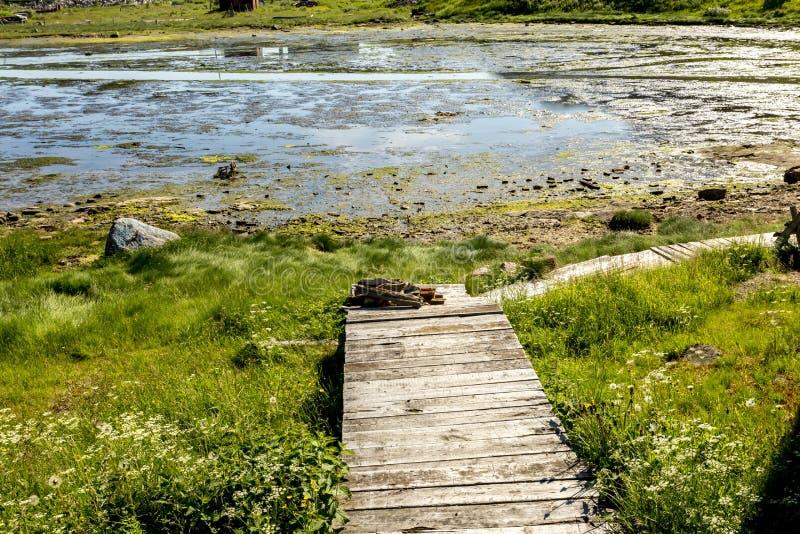 Gammal trävandringsled i byn Teriberka, Kola Peninsula, Kolsky område av Murmansk Oblast, Ryssland royaltyfri fotografi
