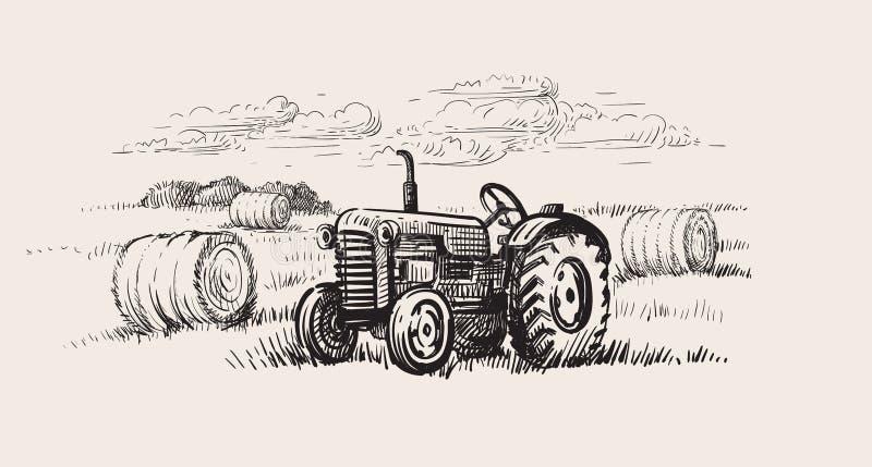 Gammal traktor med en lantlig plats vektor illustrationer