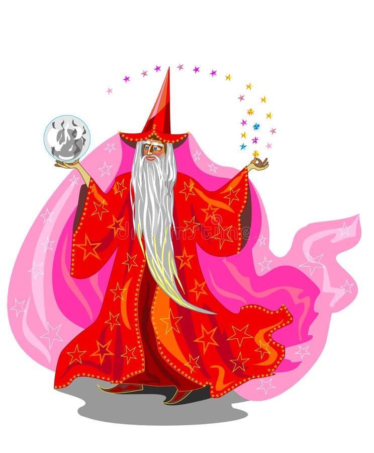 Trollkarl i röd robe stock illustrationer