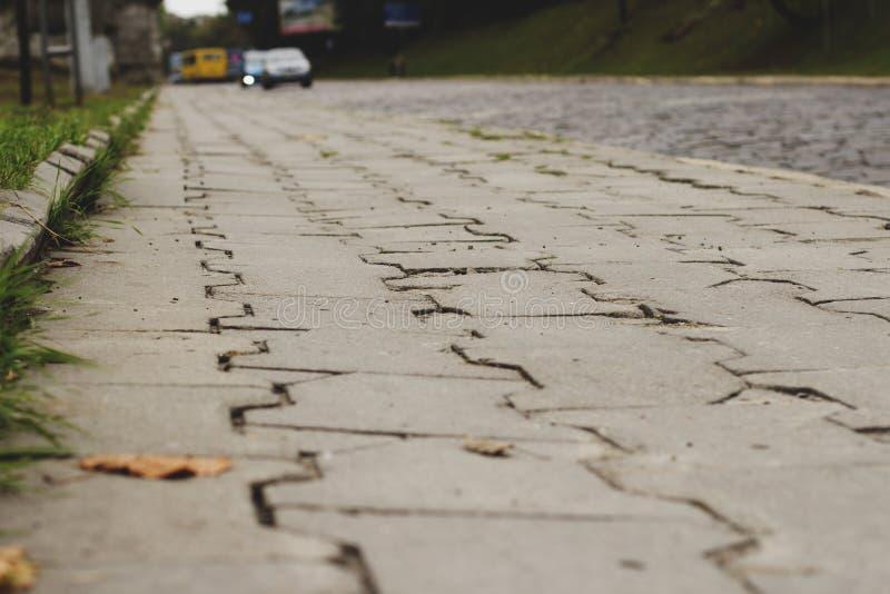 Gammal trottoar av tegelplattor i Lviv royaltyfri bild