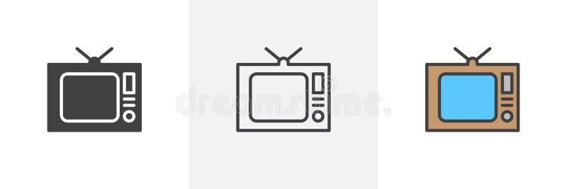 gammal tv för symbol stock illustrationer
